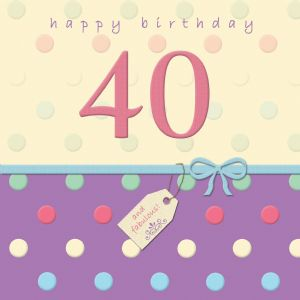 Age 40 Happy Birthday Card With Swarovski Crystal - Dotty Days TW695